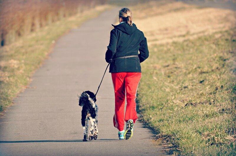 Frau läuft mit Hund